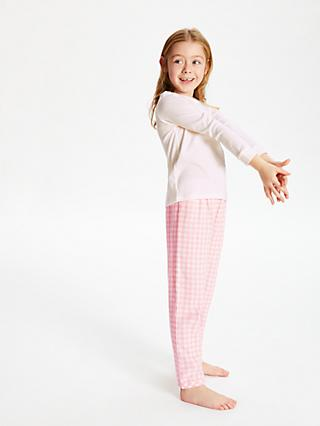 John Lewis & Partners Girls' Gingham Pointelle Pyjamas, Pink/White