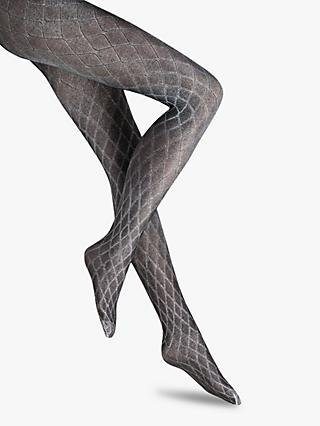 Wolford 50 Denier Crystal Blaze Tights, Black/Silver