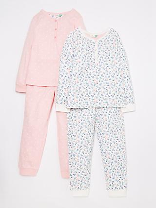 John Lewis & Partners Girls' Floral Berry Print Pyjamas, Pack of 2, Multi