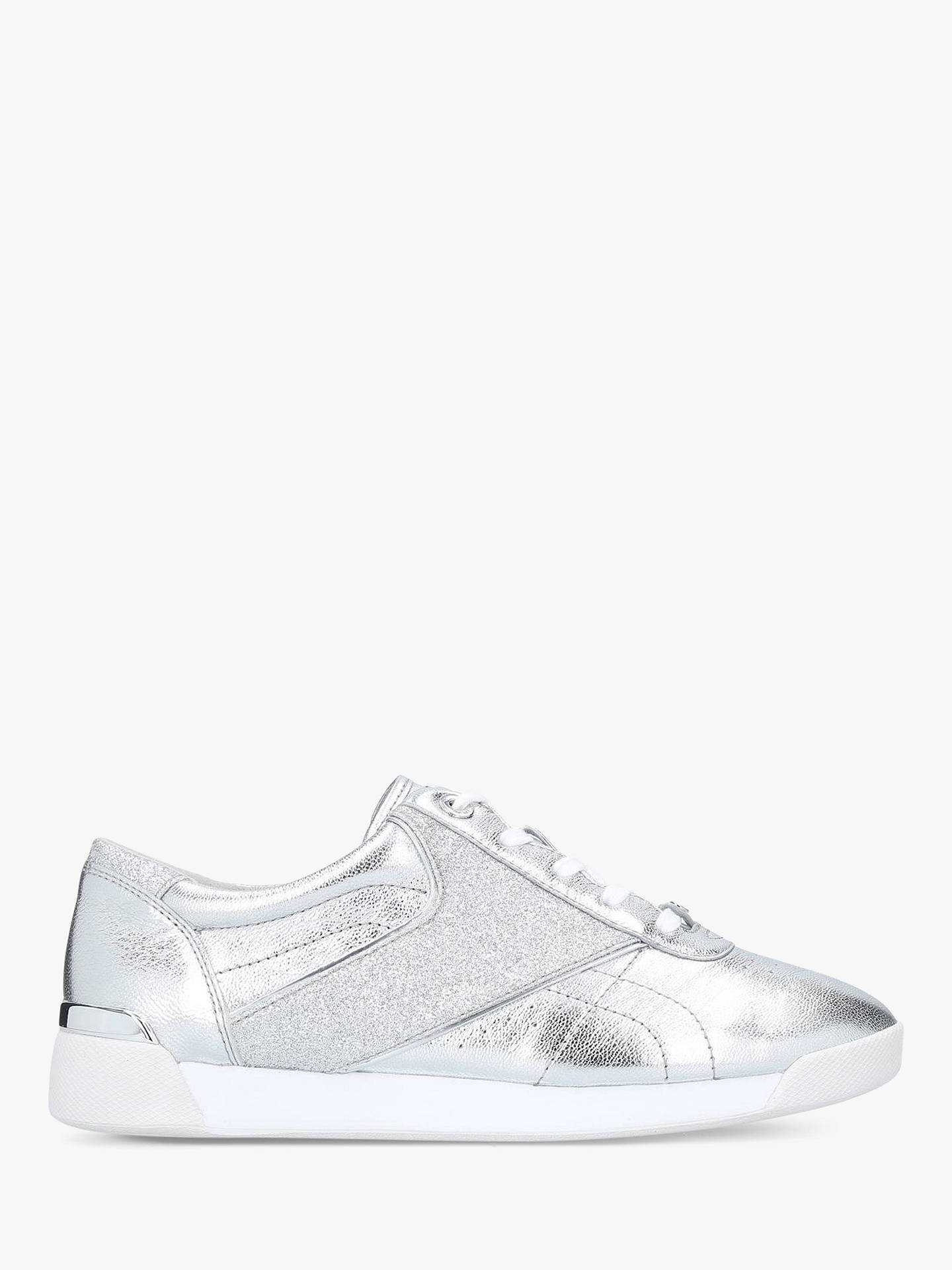 dec4b74346 Buy MICHAEL Michael Kors Addie Lace Up Trainers, Silver, 3.5 Online at  johnlewis.
