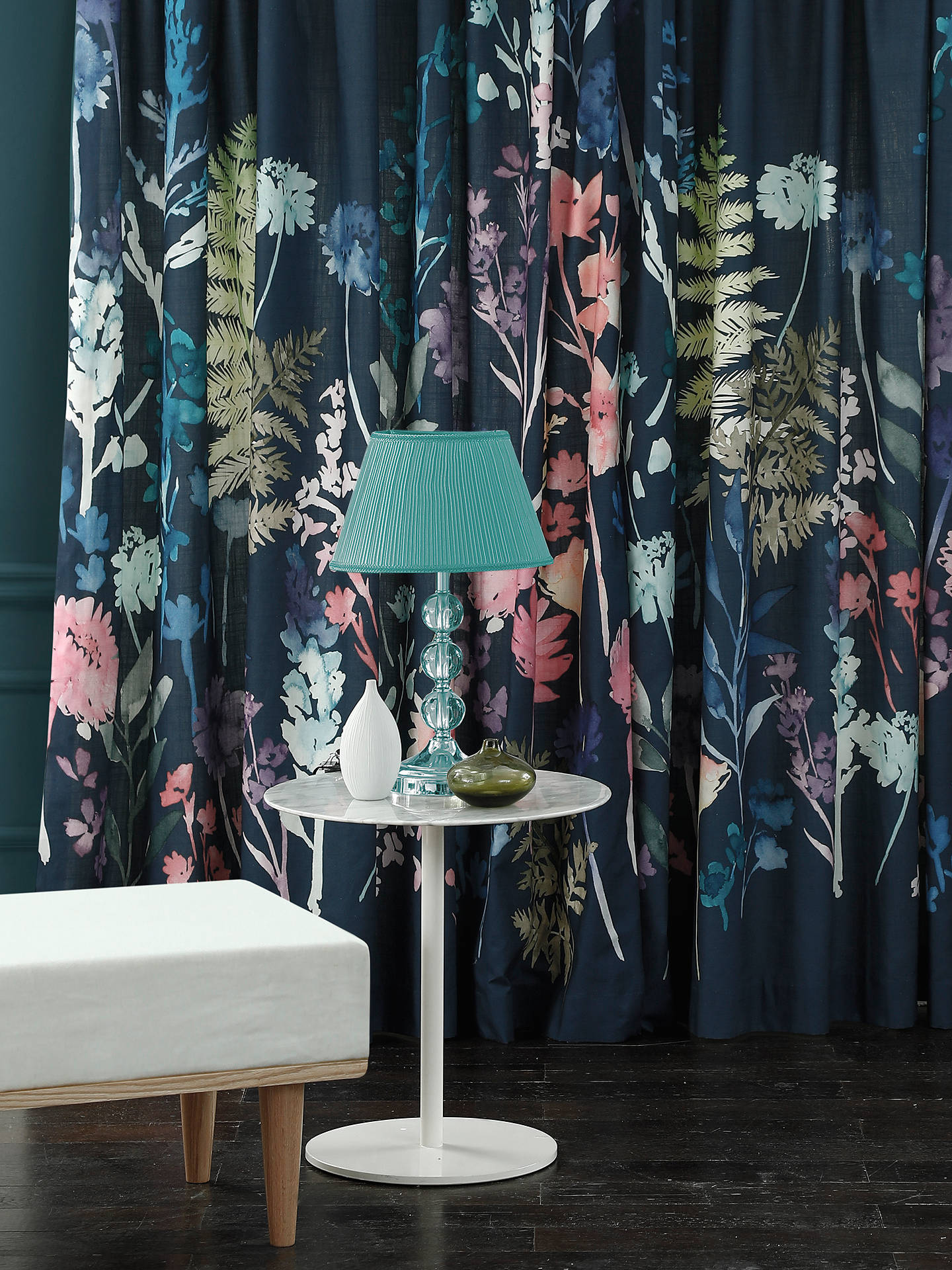 Buybluebellgray Peggy Pair Lined Pencil Pleat Curtains, Midnight, W167 x Drop 182cm Online at johnlewis.com