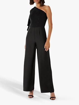 Coast Sasha One Shoulder Sparkle Jumpsuit, Black