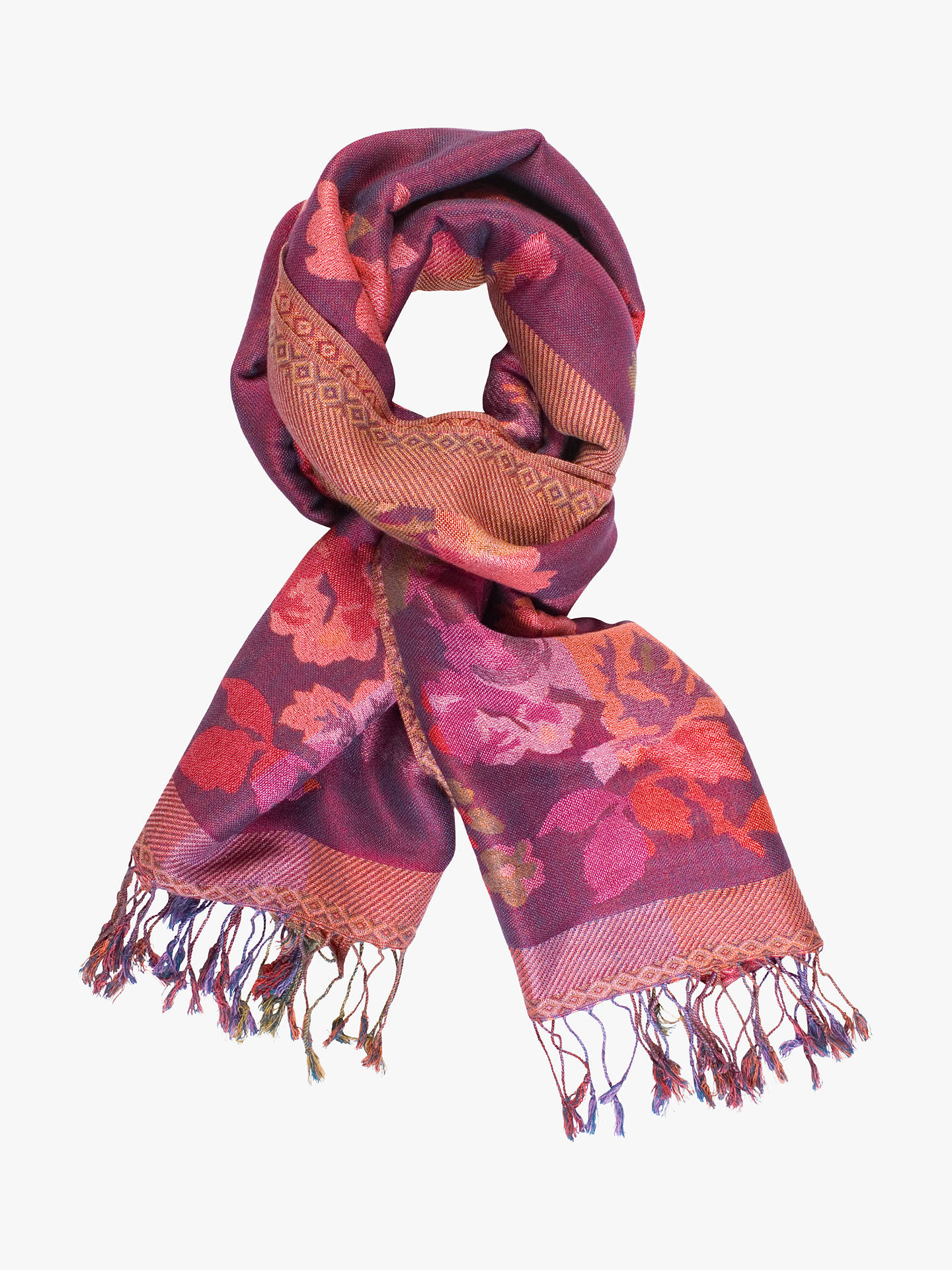BuyChesca Autumn Floral Print Scarf, Plum/Multi Online at johnlewis.com