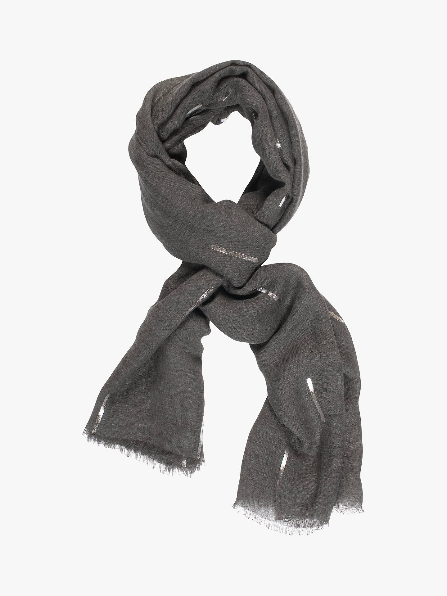 BuyChesca Metallic Detail Print Scarf, Charcoal/Silver Online at johnlewis.com