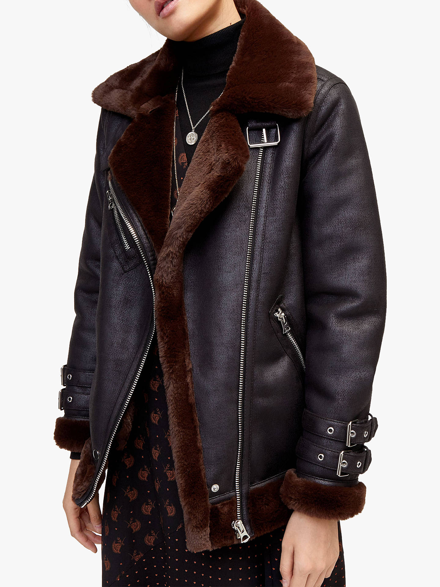 00b0e78f8 Warehouse Faux Leather Oversized Biker Jacket at John Lewis & Partners