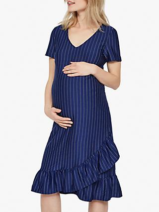 aef6389c1a5f8 Mamalicious Linnea Jersey Frilled Stripe Maternity Dress, Blue Depths