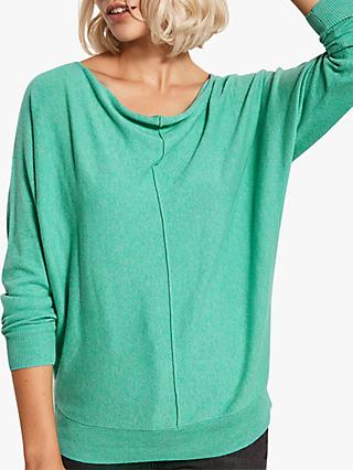 Mint Velvet Button Detail Batwing Jumper, Green