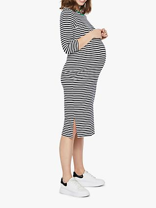 Mamalicious Gina Striped Jersey Maternity Dress, Navy