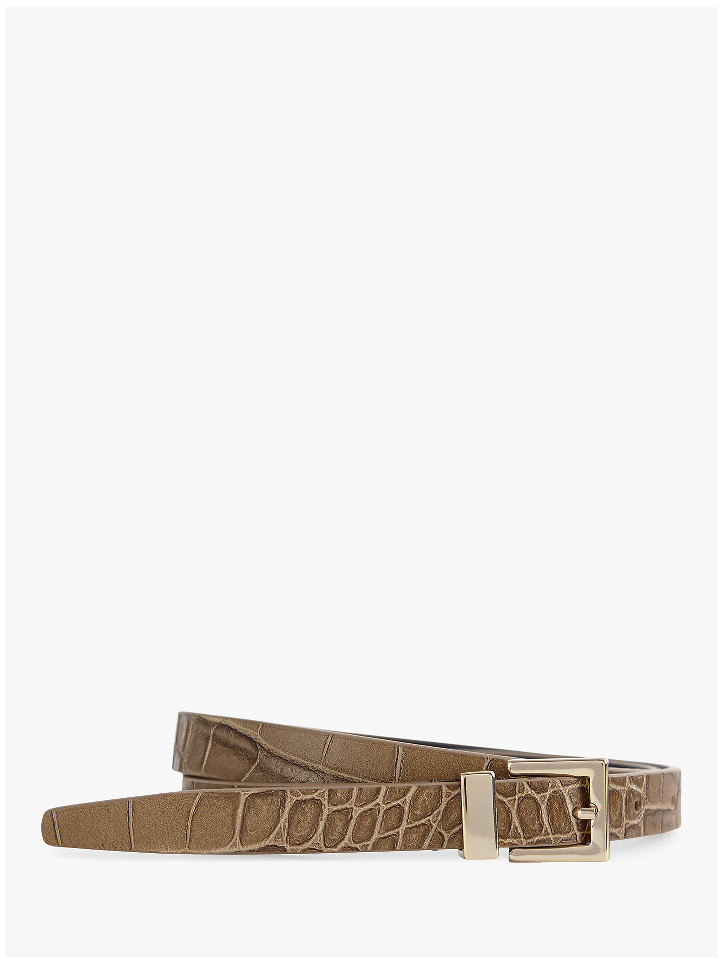 Buy Reiss Blossom Croc-Croc Skinny Leather Belt, Nude, XS Online at johnlewis.com