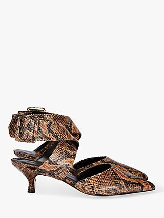Finery Jenni Cross Strap Kitten Heel Court Shoes, Brown Snake