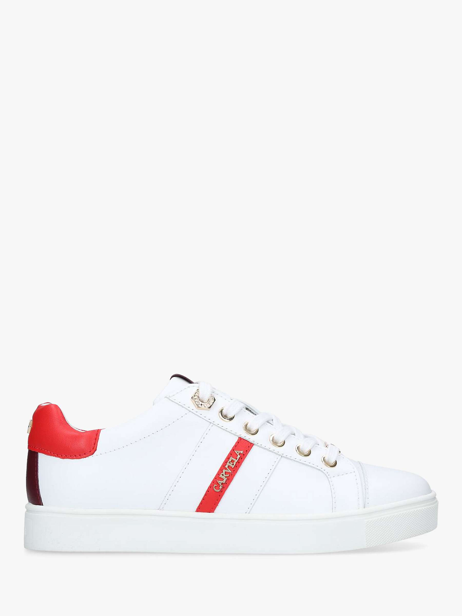 limited quantity pre order enjoy clearance price Carvela Lisa Low Top Trainers, White/Red Leather at John ...