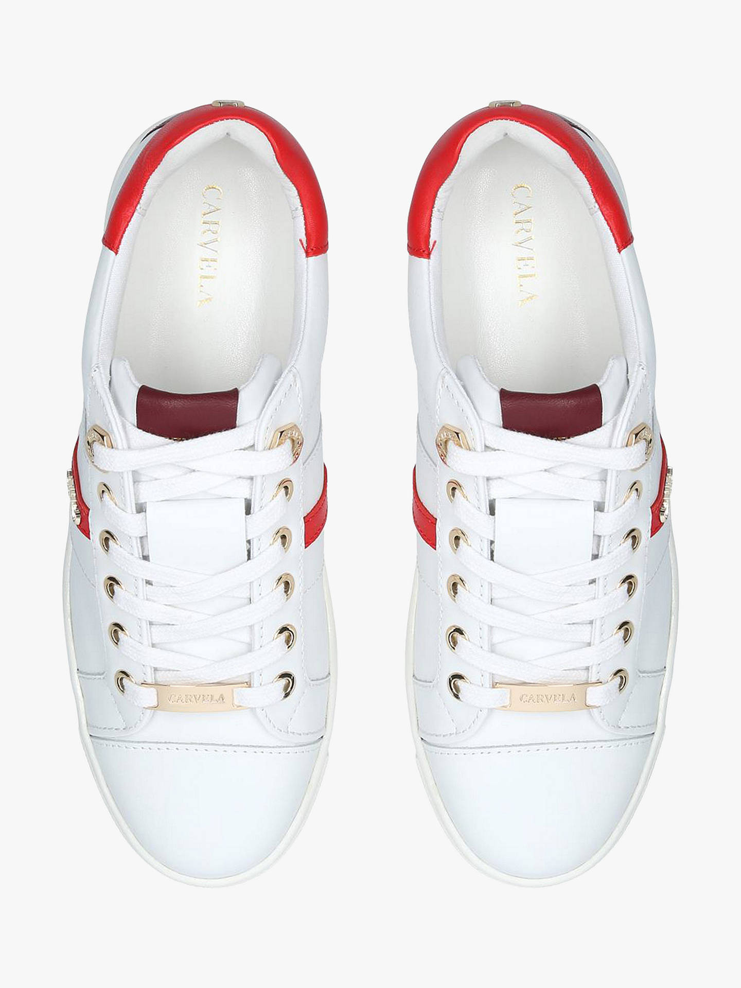 Buy Carvela Lisa Low Top Trainers, White/Red  Leather, 7 Online at johnlewis.com