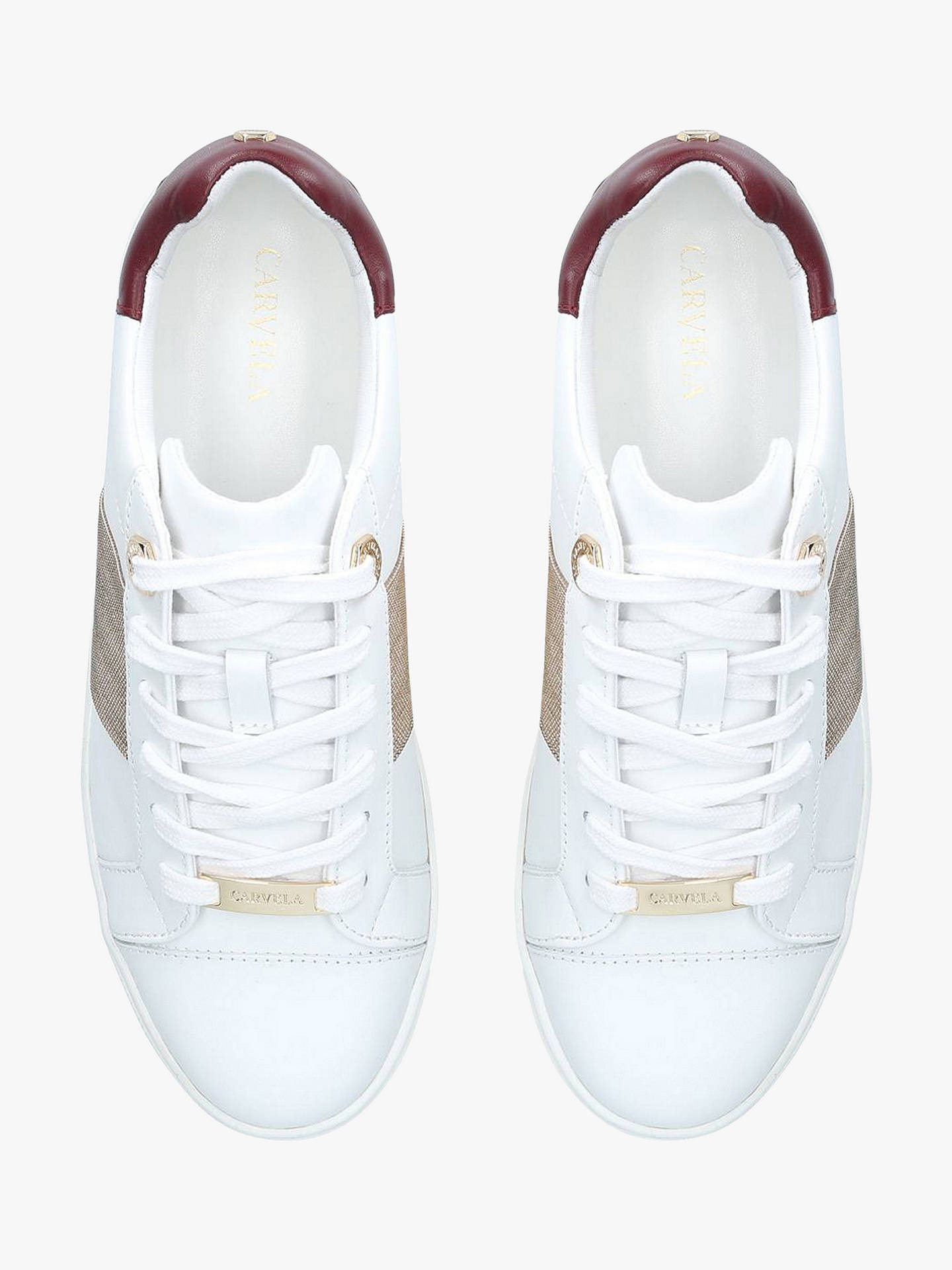 Buy Carvela Linette Texture Stripe Trainers, White Leather Mix, 3 Online at johnlewis.com
