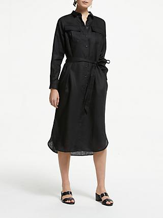 John Lewis & Partners Linen Collar Shirt Dress