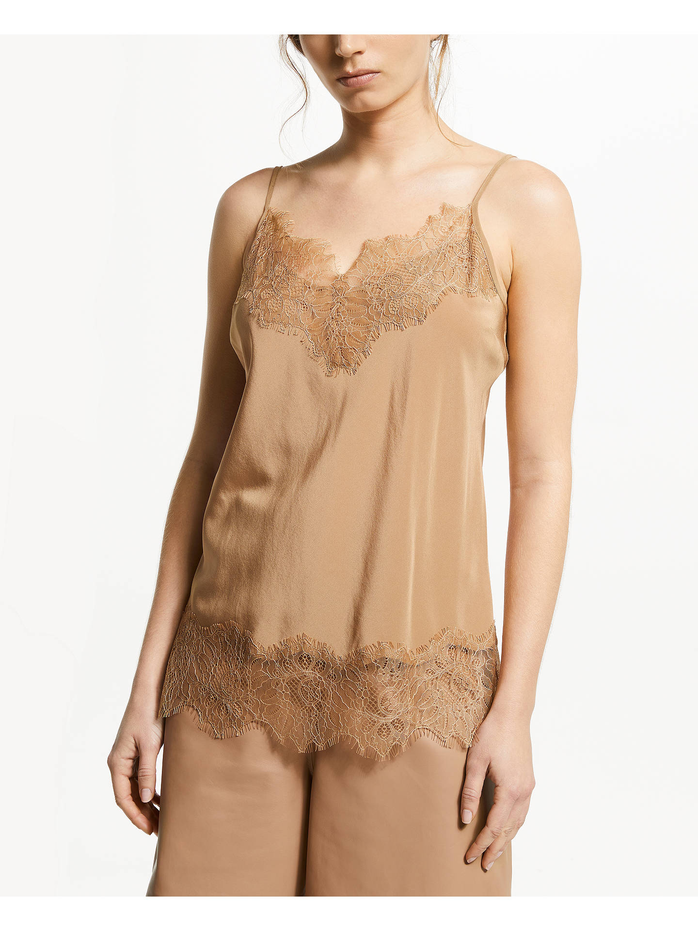 Buy Modern Rarity Silk Lace Cami Top, Brown, 12 Online at johnlewis.com