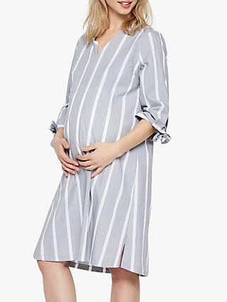 Mamalicious Laura Stripe Cotton Maternity Dress, Light Grey Melange