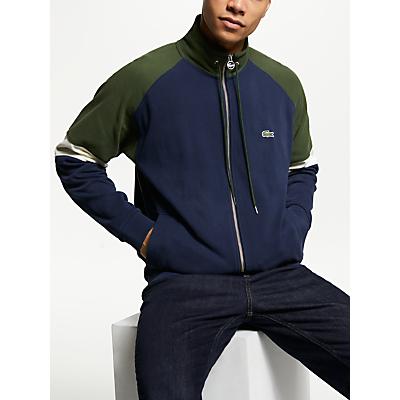 Lacoste Colour Block Zip Through Sweatshirt, Marine/Geode Cap