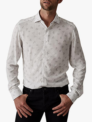 Buy Reiss Vancouver Micro Floral Print Shirt, White, M Online at johnlewis.com