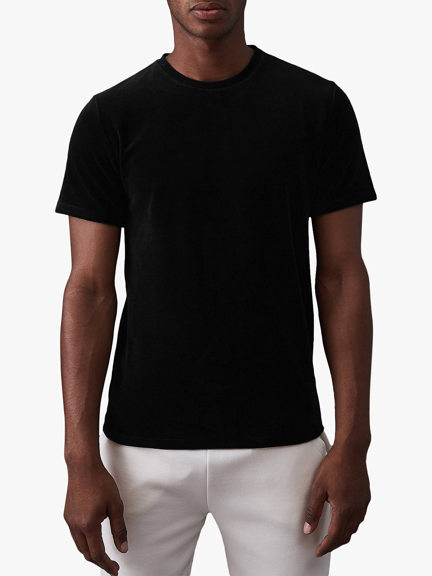 BuyReiss Jupiter Short Sleeve Velour T-Shirt, Black, L Online at johnlewis.com