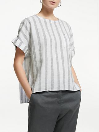 b96a0212133a John Lewis   Partners Linen Stripe Blouse