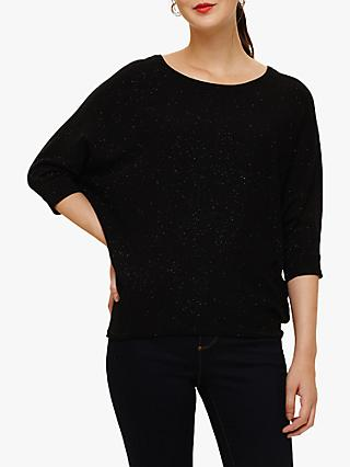 Phase Eight Becca Glitter Print Batwing Knit Jumper, Black
