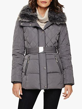 Phase Eight Deasia Short Diamond Puffer Jacket, Slate Blue