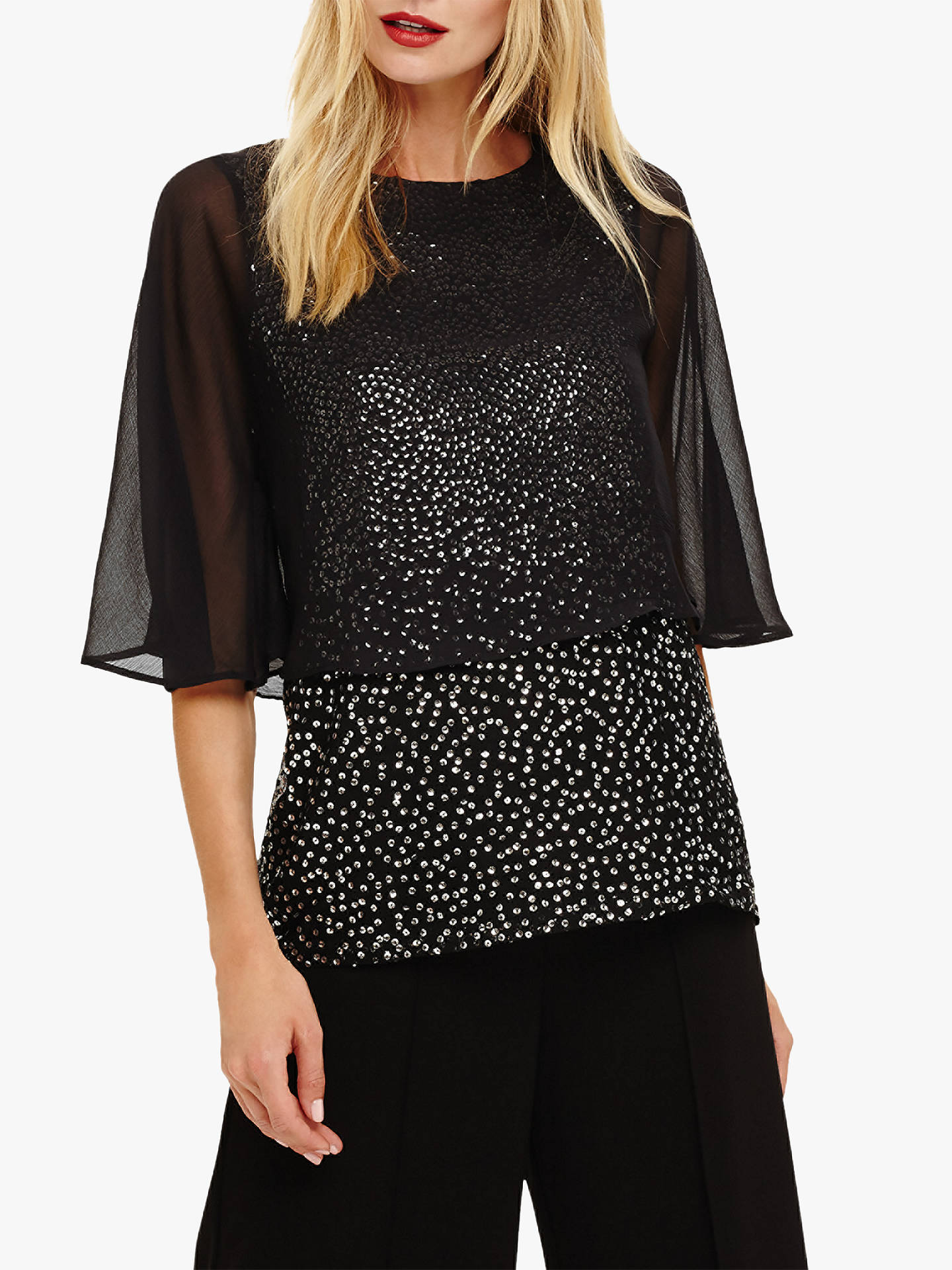 bd4a9b2c1873c8 Buy Phase Eight Iiona Sequin Blouse, Black/Ivory, 8 Online at johnlewis.