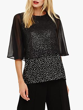 Phase Eight Iiona Sequin Blouse, Black/Ivory