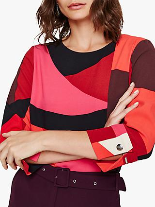 Phase Eight Xanthe Abstract Blouse, Red/Pink