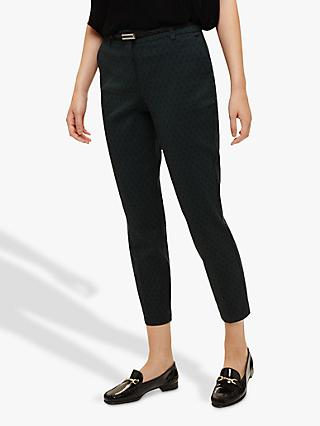 Phase Eight Larry Cropped Trousers, Green/Black