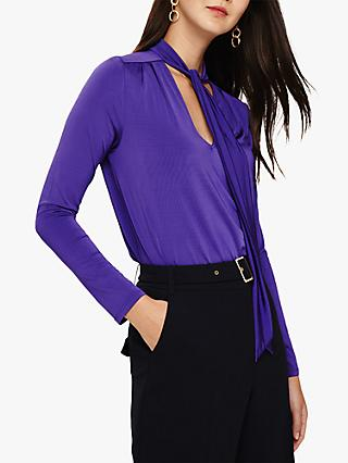 Phase Eight Tyra Tie Neck Top, Violet