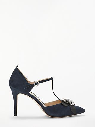 Boden Cordelia Embellished T Bar Stiletto Heel Court Shoes