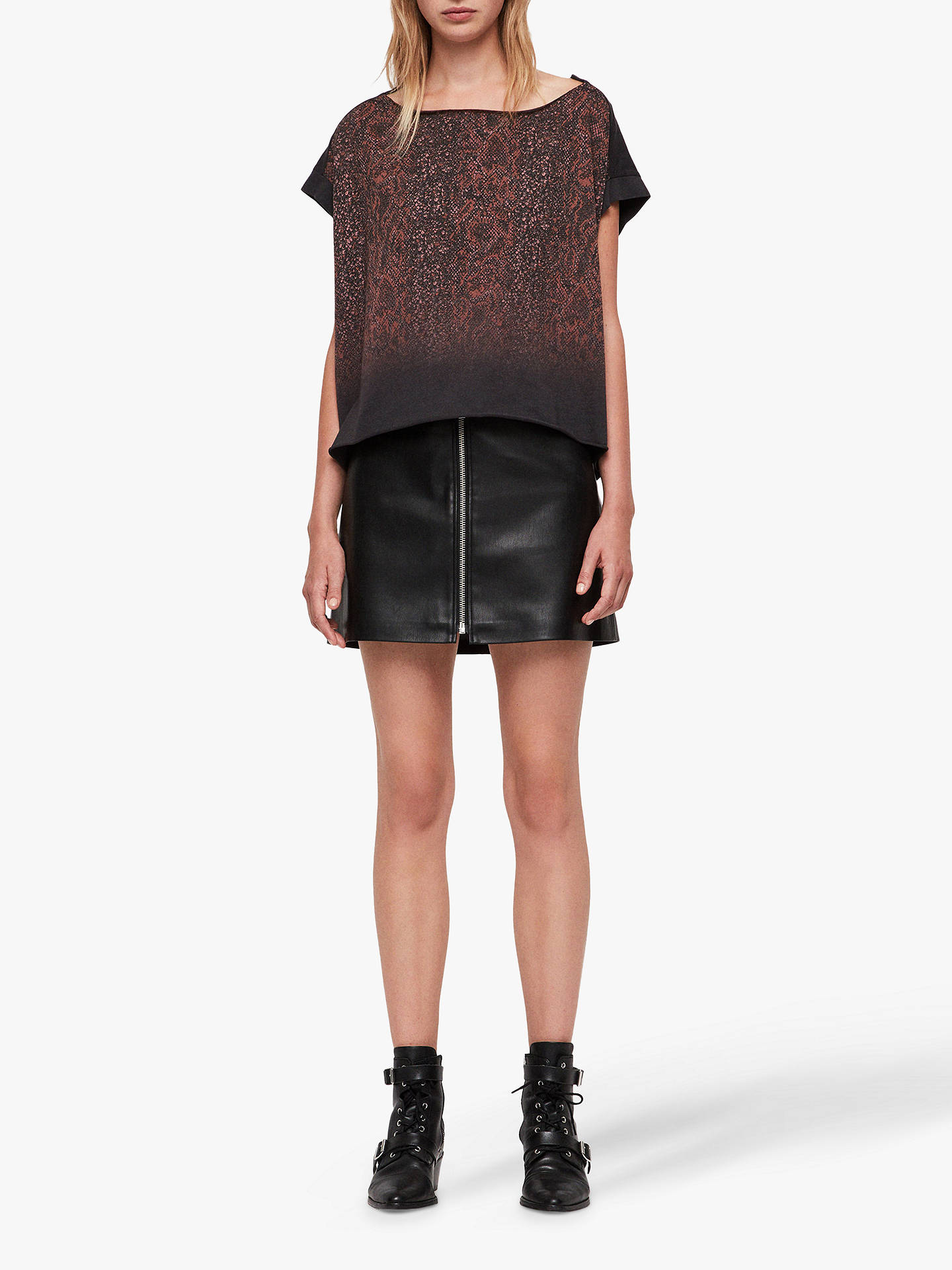 Buy AllSaints Kaa Pina T-Shirt, Red, XS Online at johnlewis.com