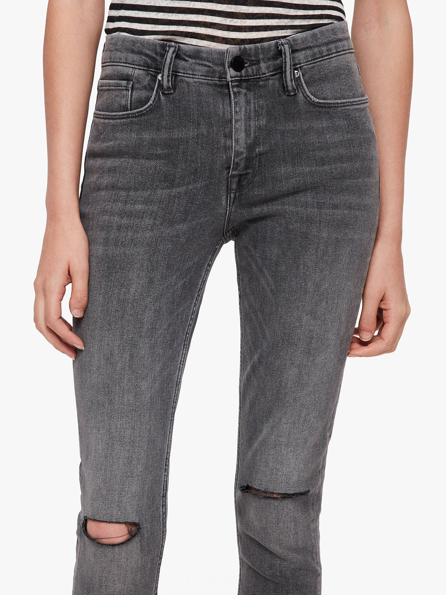 Buy AllSaints Grace Ripped Skinny Jeans, Washed Black, 27R Online at johnlewis.com