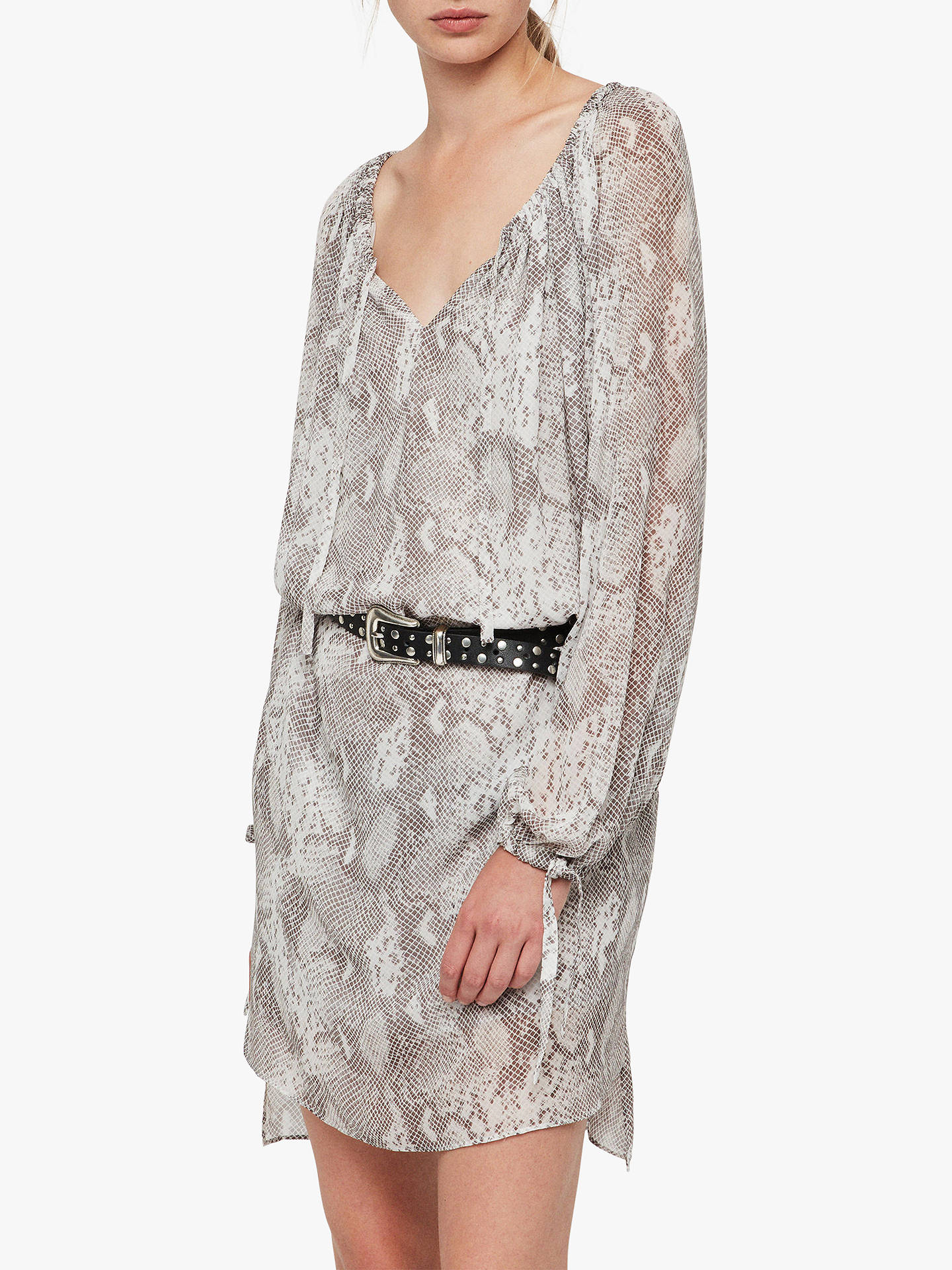 BuyAllSaints Chesca Snake Print Dress, Pale Grey, S Online at johnlewis.com