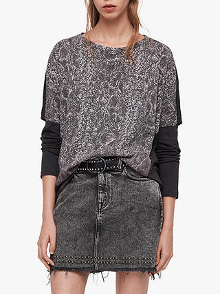 Buy AllSaints Kaa Wave Long Sleeve T-Shirt, Fadeout Black, L Online at johnlewis.com