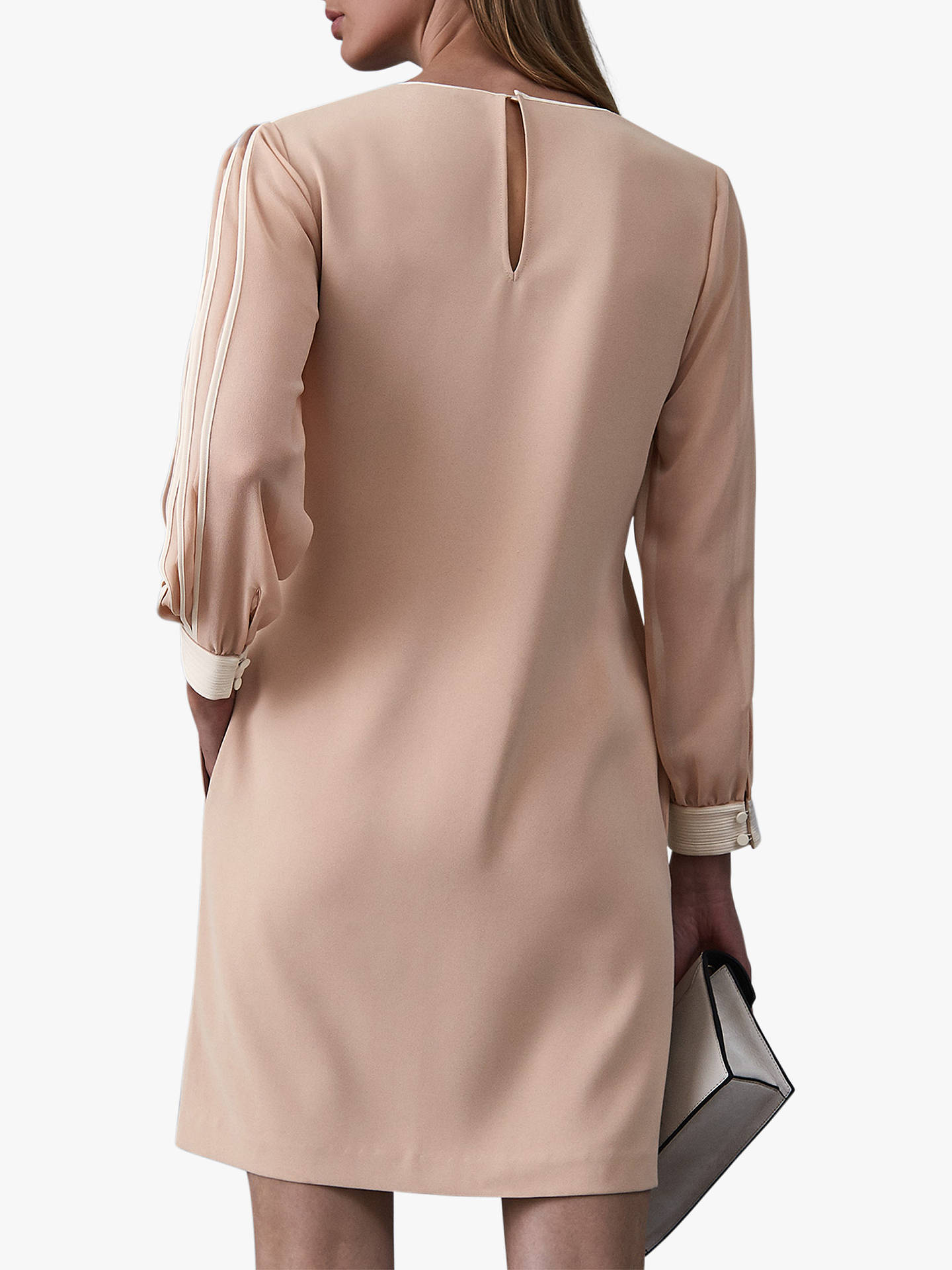 BuyReiss Amerie Pleat Stripe Sleeve Shift Dress, Neutral, 14 Online at johnlewis.com