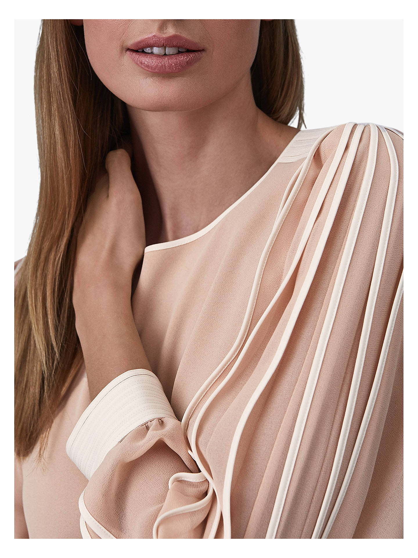 Buy Reiss Amerie Pleat Stripe Sleeve Shift Dress, Neutral, 14 Online at johnlewis.com
