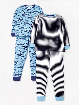 John Lewis & Partners Boys' Whale Print Pyjamas, Pack of 2, Blue