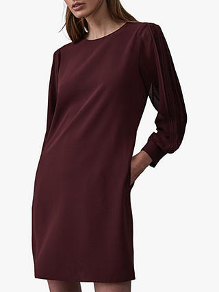 Buy Reiss Amerie Pleat Stripe Sleeve Shift Dress, Berry Red, 6 Online at johnlewis.com