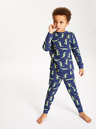 John Lewis & Partners Boys' Crocodile Pyjamas, Pack of 2, Multi