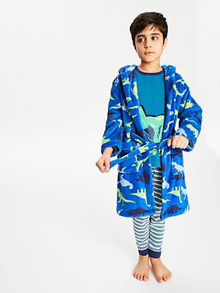 John Lewis & Partners Boys' Dinosaur Robe, Blue
