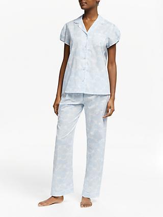 3eee565bd57d88 John Lewis & Partners Zoe Floral Print Cotton Pyjama Set, White/Blue