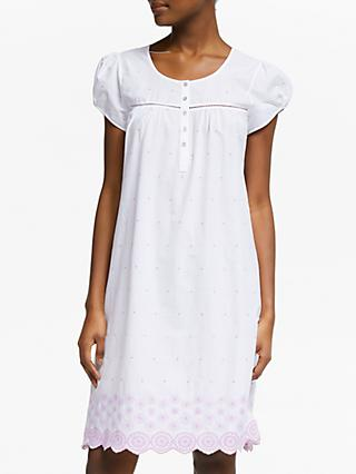 John Lewis & Partners Flower Embroidered Cotton Nightdress, White Pink