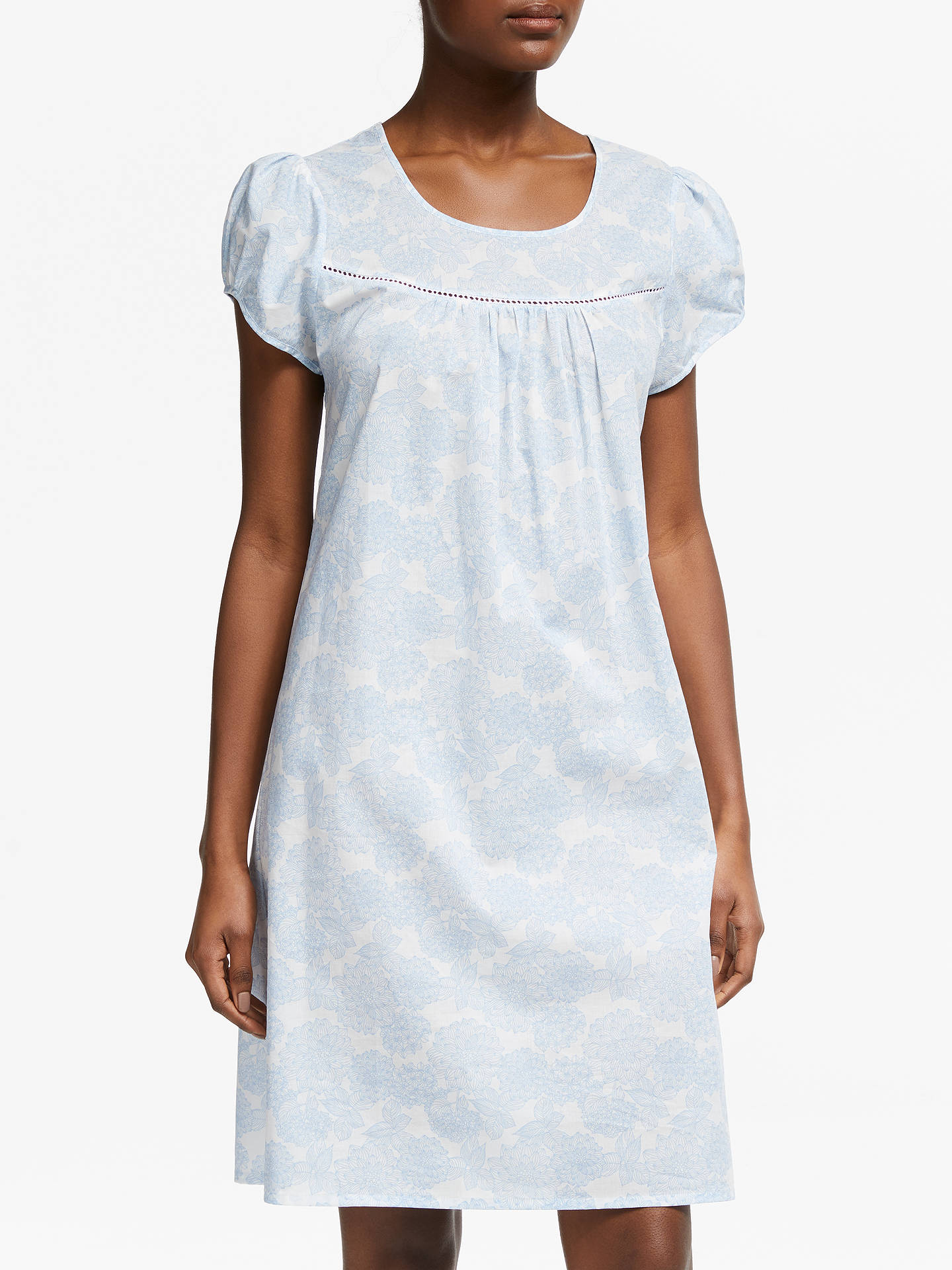 a68d4b9d42 Buy John Lewis & Partners Zoe Floral Print Short Sleeve Cotton Nightdress,  White/Blue ...