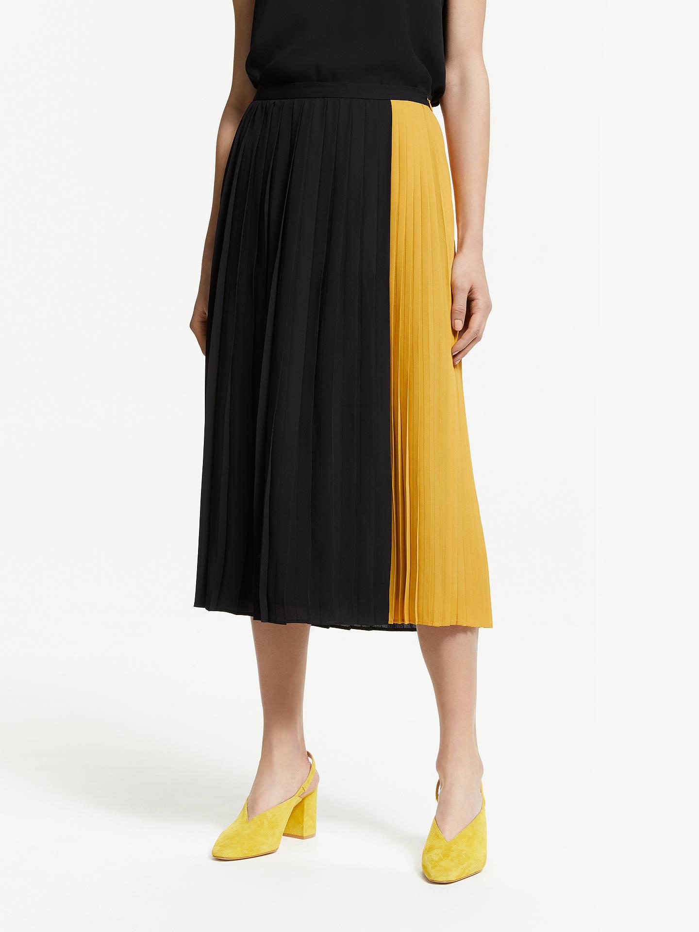 398ab2985e Buy John Lewis & Partners Colour Block Pleat Skirt, Black/Mustard, 10  Online ...