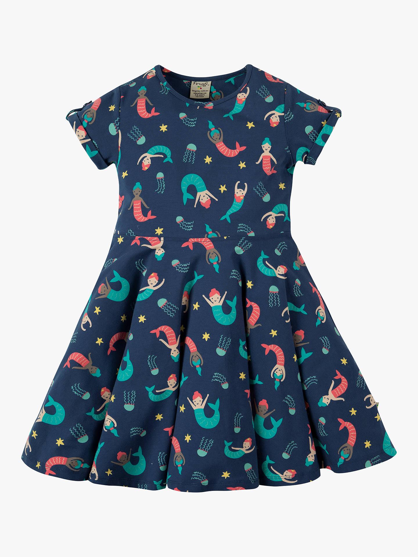 Frugi Children's Mermaid Skater Dress, BlueMulti at John