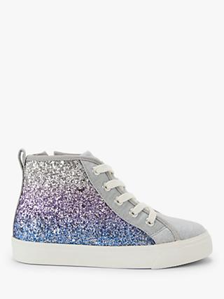 John Lewis & Partners Children's Jessie Glitter Hi-Top Shoes, Denim