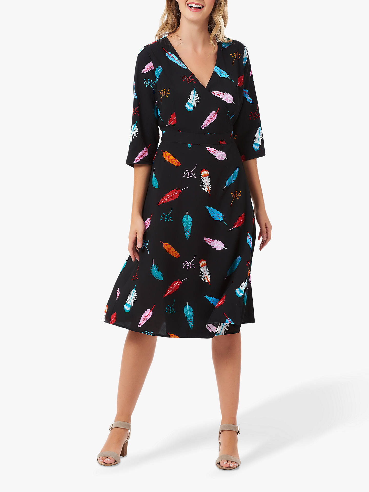 BuySugarhill Brighton Aisha Feather Wrap Dress, Black/Multi, 8 Online at johnlewis.com