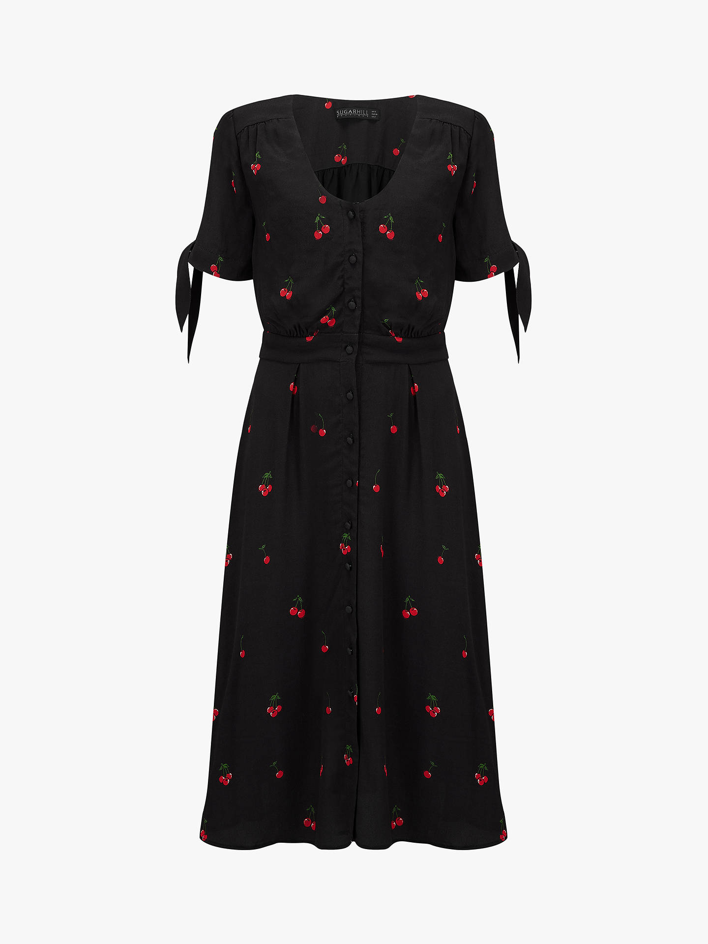 Buy Sugarhill Brighton Holly Cherry Midi Dress, Black Multi, 8 Online at johnlewis.com